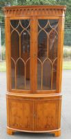 Large Yew Bowfront Standing Corner Cupboard